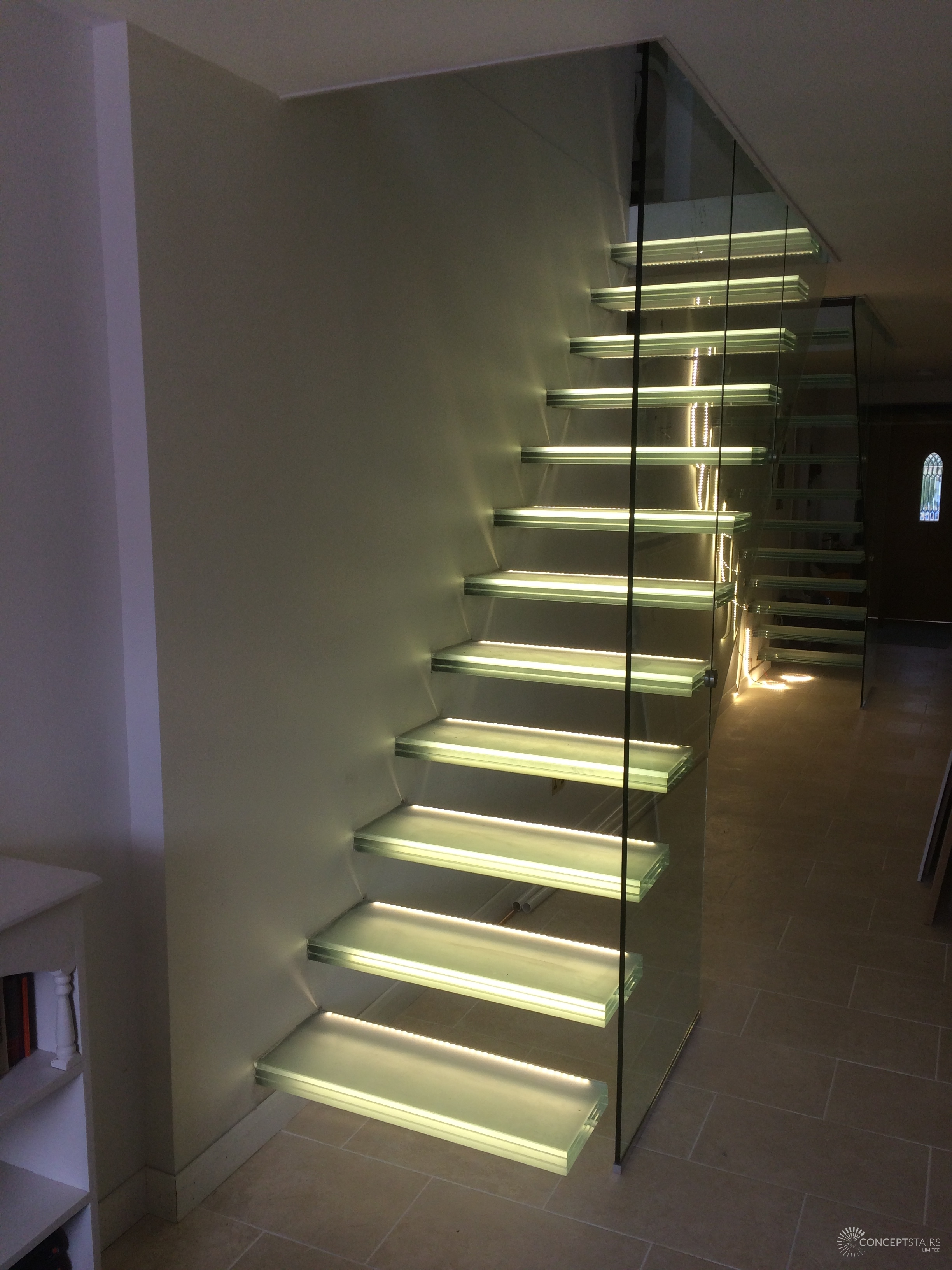guildford nearing completion of bespoke double flight glass cantilever staircases bespoke glass staircase